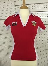 NEW LADIES RED WELSH FLAG CYMRU WALES V NECK CONTRAST RUGBY FOOTBALL SHIRT TOP