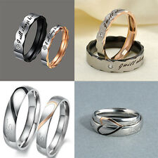 1PC Unisex Titanium Steel Couple Wedding Band Lover Engagement Promise Ring Gift