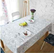 Elegant White Big Leaf Leaves Dinning Coffee Table 100% Cotton Cloth Covering O