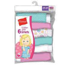 6-Pack Hanes TAGLESS Toddler Girls Cotton Briefs Panties -Assorted Colors- 2T-4T