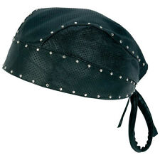 Diamond Plate™ Biker's Solid Genuine Leather Skull Cap or Perforated Skull Cap