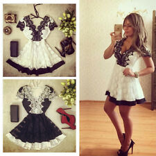 Womens Lace Sexy Summer V-neck Backless Floral Party Evening Short Mini Dresses