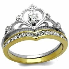 2 TONE PRINCESS ROYALTY CRYSTAL CROWN STAINLESS STEEL WEDDING RING SET