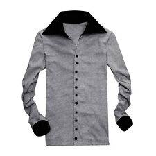Men Contrast Color Long Sleeve Point Collar Buttoned Shirt Gdile