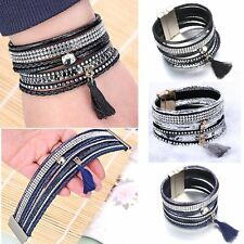 Handmade Boho Tassel Crystal Bead Leather Braided Wrap Wristband Bracelet Bangle