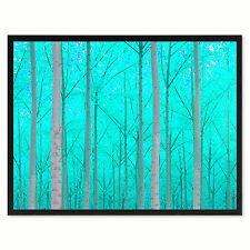 Autumn Tree Aqua Landscape Photo Canvas Print Pictures Frames Home Décor Wall Ar