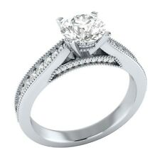 1.15ct Real White Topaz & Certified Diamond Solid White Gold Engagement Ring