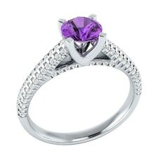 1.00ct Real Purple Amethyst & Certified Diamond Solid White Gold Engagement Ring