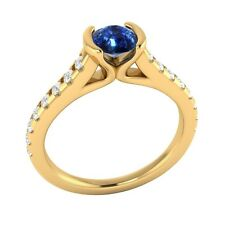 0.80ct Real Blue Sapphire & Certified Diamond Solid Yellow Gold Engagement Ring