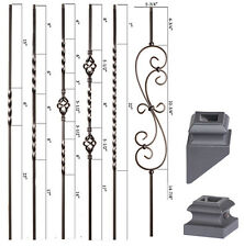Satin Black - Twist & Basket Iron Balusters - HOLLOW Wrought Iron - Stair Parts