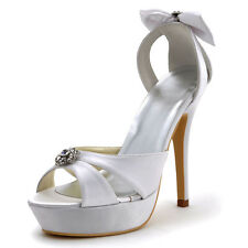 White Peep Toe Slip On Cut-out Sandals Platform Satin Crystal Party Bridal Shoes