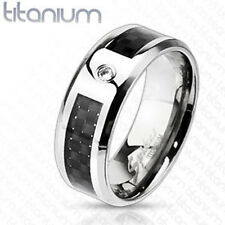 Titanium Men's CZ Black Carbon Fiber Comfort Fit Wedding Band Ring Size 9-13