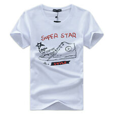 New Men's Boys Slim Fit Short Sleeve Crew Neck Casual Basic Tee T-Shirts Tops nm