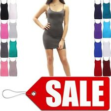 WOMENS CAMISOLE STRAPPY VEST TANK TOP STRETCH SLEEVELESS LONG CAMISOLE VEST