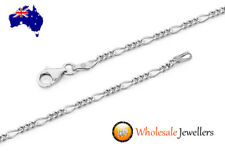 New 925 Italian Made Solid Sterling Silver Unisex Figaro Pendant Necklace Chain