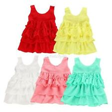 Solid Baby Girls Chiffon Ruffle Tutu Dress Toddler Sundress Vest Skirt Free ship