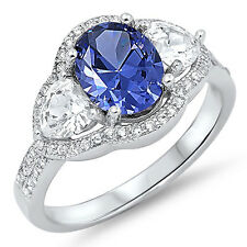 Sterling Silver 925 Women's CZ Tanzanite Heart Promise Engagement Ring Size 5-10