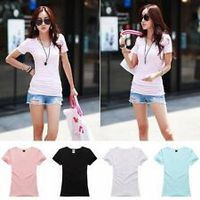 Women Slimming Sleeve T-Shirt Blouse  Casual Cotton Shorts V-Neck Tops Free ship