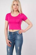 PILOT® Plain Cap Sleeve Crop Top in Cerise Pink