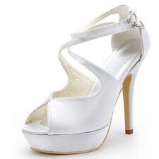 EP2128-PF White Peep Toe Platform Buckle Women Party Sandals Satin Wedding Shoes