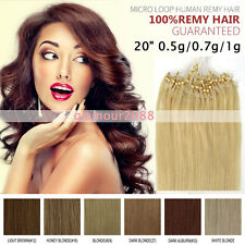 "Easy Loop Micro RingsTip Remy Human Hair Extensions 20"" 0.5g 0.7g 1g/s Straight"