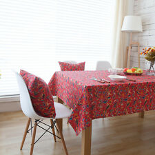 Elegant Red Flower Floral Dinning Coffee Table Cotton Linen Cloth Covering O