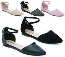 Ladies Women Flat Pointed Toe Slip on Ankle Buckle Casual Ballet Pumps Shoes 3-8