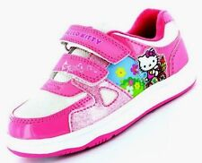 Hello Kitty Girls Mulberry Pink & White Shoes Trainers Pumps Touch  Riptape