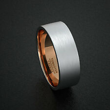 Mens Wedding Band Tungsten Ring Two Tone 8mm Matte with Rose Gold Comfort Fit