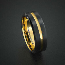 Tungsten Wedding Band Mens Ring Two Tone Gold Black Center Groove Carbide Ring