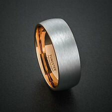 Tungsten Wedding Bands 8mm Mens Brush Matte Dome Two Tone Rose Gold Carbide Ring