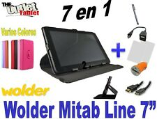 """Pack 7 in 1 Cover tablet Wolder mitab Line 7"""" + Hdmi + OTG + Protectors + CAR"""