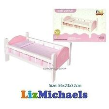 FUN FACTORY WOODEN BABY DOLL BED PINK BEDDING PRETEND PLAY KIDS TOY Cot Crib