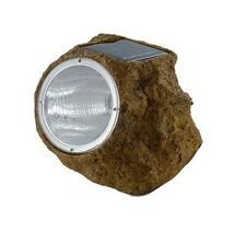 SOLAR POWERED ROCK LIGHT WHITE LED GARDEN PATIOS POND FEATURE AUTO ON/OFF NEW