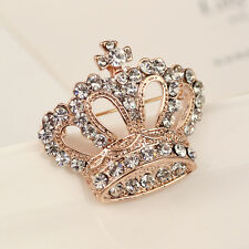Silver/Gold Plated Rhinestone Crystal Crown Brooch Pin Wedding/Bridal/Party Gift