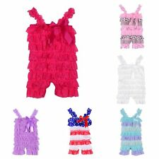 Hot Baby Girls Princess Summer Ruffled Strap Romper Bowknot Overalls Trousers