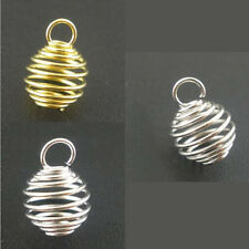 DIY Breloque Drop Spiral Spring Bead Cages Charms Pendants Jewelry Making 8x9mm
