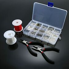 Silver Plated Jewelry Making Tools Kits Beads Head Pins Pliers Chain Cord DIY