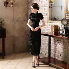 New Fashion Chinese Classic Silk Satin Flower Summer Cheongsam Dress size S--6XL