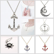 Fashion Women Jewelry Stainless Steel Boat Anchor Pendant Chain Sweater Necklace