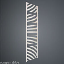 500mm Wide 1755mm High Curved White Heated Towel Rail Radiator Bathroom Warmer