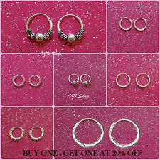 925 Sterling Silver Hoop Earrings 8mm,10mm,12mm,18 mm Small Large Sleepers Gift