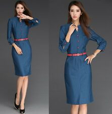 Classic Womens Wiggle Pencil Dress OL Career Wear to Work Dresses Sweet Elegant