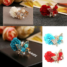 Women Elegance Rhinestone Butterfly Resin Rose Adjustable Open Cuff Retro Ring