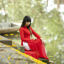 AO DAI, PANT Vietnam CUSTOM MADE, Chiffon, Red Dress, White Pant, Custom Size