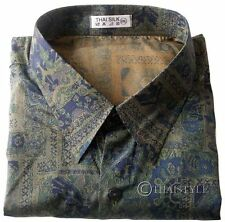 Mens Thai Silk Shirt Liver Bird Olive Short Sleeve Pattern Camp Hawaiian S - 3XL