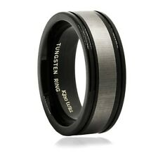 Mens 8mm Black Polished Tungsten Ring Wedding Band Grooved White Matte Finish C