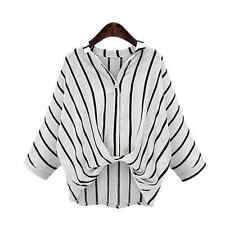 New Fashion Women's Loose Long Sleeve Batwing Casual Striped Shirt Tops Blouse