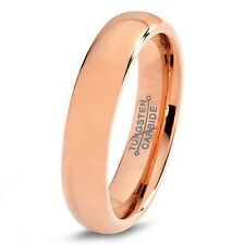 Tungsten Wedding Band Ring 5mm for Men Women Comfort Fit 18K Rose Gold Plated D