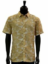 Stacy Adams Mens Yellow Cream Double Layer Short Sleeve Button Up Trending Shirt